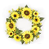 FAVOWREATH 2018 Vitality Series FAVO-W55 Handmade 15 inch Mix Yellow Sunflowers Grapevine Wreath for Summer/Fall Festival Front Door/Wall/Fireplace Floral Hanger Flower Craft Home Nature Decor