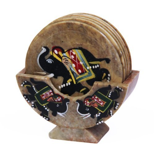 Royal Set of 6 Hand Carved Marble Bar Coaster with Hand-painted Elephant Design Gift Ideas by Store Indya (Image #1)