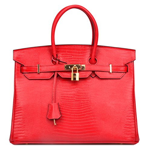 Ainifeel Women's Color Focus Unreal Colour Lizard Embossed Patent Leather Padlock Top Handle Handbag Women's Briefcase (35 cm, (Red Patent Lizard)