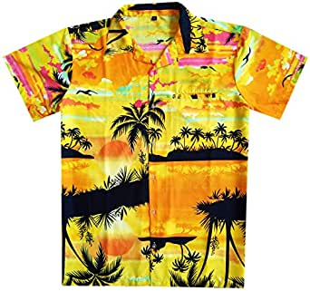 Virgin Crafts Funny Hawaiian Shirts for Men Button Down Beach Party Reverse Palm Yellow XXL