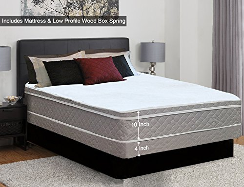 """Continental Sleep, 10-Inch Plush Medium Eurotop Pillowtop Innerspring Mattress And 4-Inch Wood Traditional Box Spring/Foundation Set, Good For The Back, No Assembly Required, Full Size 74"""" x 53"""""""