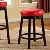 Roundhill Furniture Wooden Swivel Barstools, Counter Height, Bloody Red, Set of 2