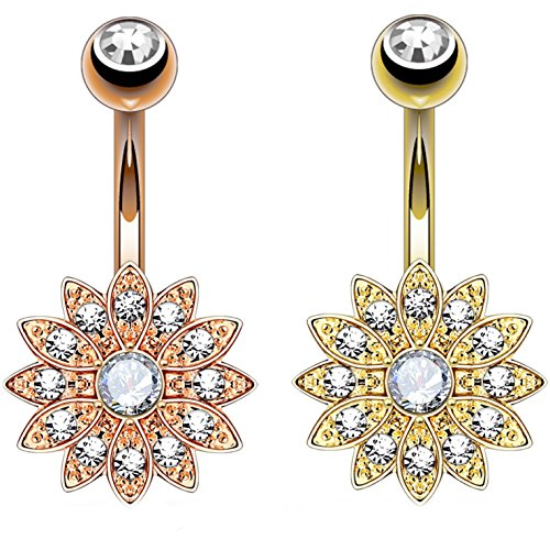 2-Pack Set Crystal Accent Paved Flower Belly Button Navel...
