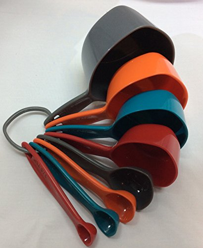 Measuring Cups and Spoon Set in Bold Colors with Easy Pour Design