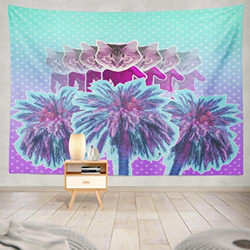 Happyome Summer Psychedelic Tapestry, Wall Hanging Tapestry Contemporary Art Pink Neon Sculpture with Cat Head and Palm Wall Tapestry Dorm Home Decor Bedroom Living Room in 80