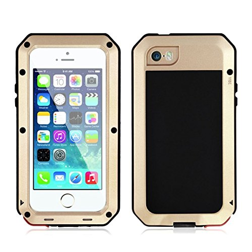 iPhone 6/6S Case,Mangix Gorilla Glass Luxury Aluminum Alloy Protective Metal Extreme Shockproof Military Bumper Finger Scanner Cover Shell Case Skin Protector for Apple iPhone 6/6S 4.7inch (Gold)