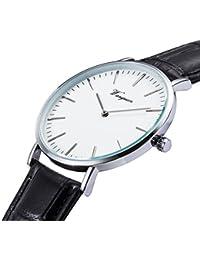 Men's Slim Leather Band Casual Analog Quartz Watch White