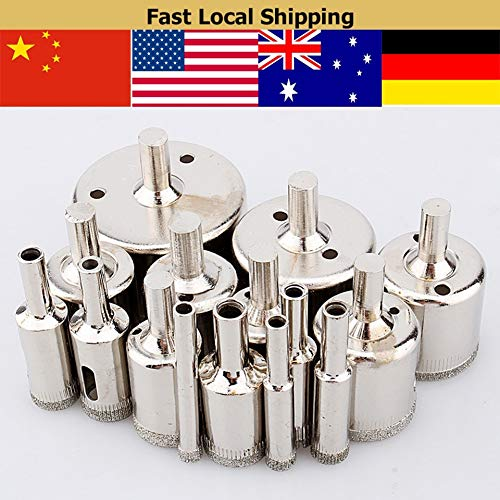 15pcs 6-50mm Diamond Coated Hole Saw Marble Glass Tile Drill Bit Cutter Set Tool