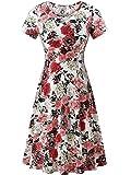 HUHOT Sun Dresses, Women Endless Summer Casual Midi Flared Dresses(Floral-4,Medium)