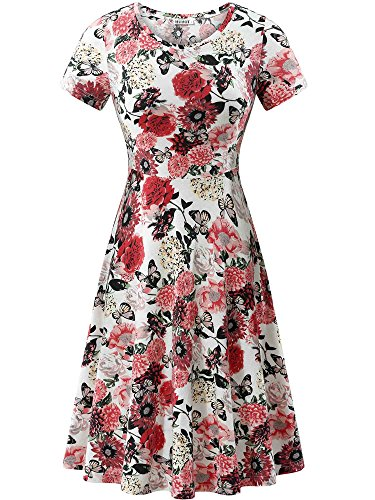 HUHOT Holiday Dress, Women Summer Casual Vacation Flower Midi Dress(Floral-4,Large)