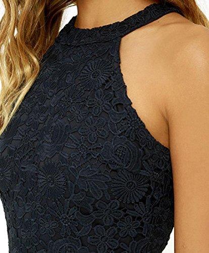 Confortables Femmes Dentelle Solide Licol Sans Manches Creux Mini-robe Noire Partie