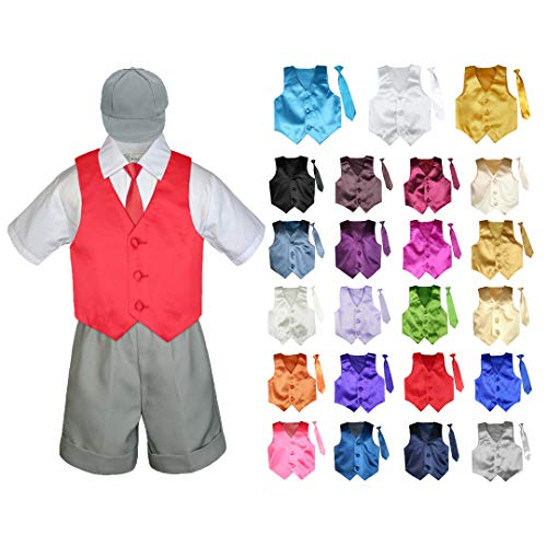 Lilac Cummerbund (5 Pieces Formal Wedding Color Satin Vest & Necktie Shirt W/Hat Gray Shorts Set Baby Boy Toddler Sm-4T (L (12-18 Months Old), Lilac))