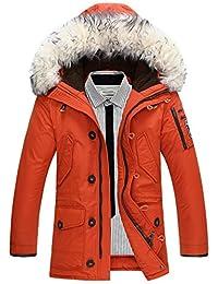 Jinmen Men's Fleece Hooded Down Jacket Winter Windproof Warm Fur Coat Parka Top