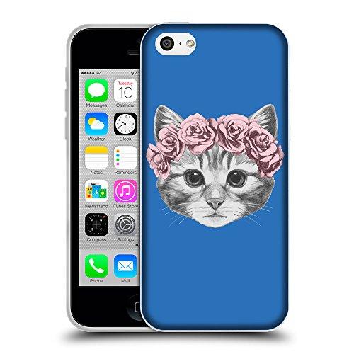 GoGoMobile Coque de Protection TPU Silicone Case pour // Q05020608 Fleur chat Azur // Apple iPhone 5C