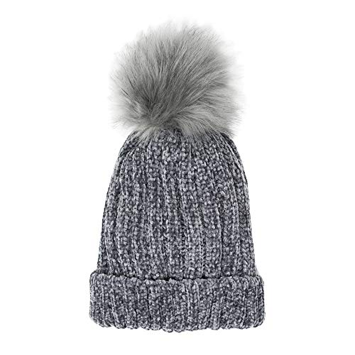 Me Plus Headwear Cable Knit Beanie Faux Fur Pompom with Plush Lining - Soft Chunky Beanie Hats for Women (Chenille-Grey)