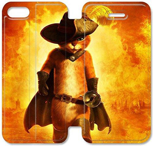 Funda iPhone 4S Caso De Cuero [BONITO REGALO Buen Presente] [Puss Boots Cartoon Background Mini Qiqu H6P2S ] La caja del teléfono protector para iPhone 4S