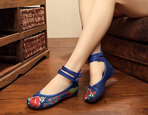 Minetom Vintage Estilo Chino Pintura de Tinta de Plataforma Mary Jane Merceditas de Mujer Flores Bordado Cómodo Casual Zapatos de Party Dress Azul