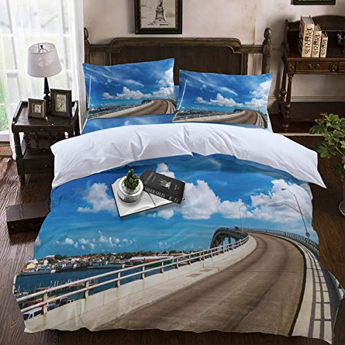 Duvet Cover Sets,4-Piece Bedding Comforter Covers with Zipper Closure, Corner Ties for Men, Women, Boys and Girls - Bridge Street Lamp Blue Sky White Clouds Beautiful Town Scenery of Omaha -