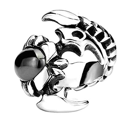 (Bishilin Men's Vintage Gothic Tribal Biker Black Oval Crystal Scorpion Stainless Steel Ring Band Size 13)