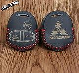 Car Styling Leather Key Cover For Mitsubishi Lancer Outlander ASX Pajero Etc
