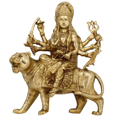 Brass Sculptures and Statues Durga Idol Religious Hindu Home D cor 8 Inches
