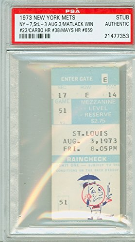 Louis Cardinals Tickets (1973 New York Mets Ticket Stub vs St. Louis Cardinals Willie Mays HR #659 Jon Matlack Win #23 - August 3, 1973 [Grades Excellent, lt fading] by Mickeys Cards)