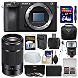 Sony Alpha A6500 4K Wi-Fi Digital Camera Body with 55-210mm Lens + 64GB Card + Case + Flash + Battery & Charger + Tripod + Filters + Kit