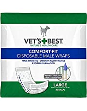 Vet'S Best Comfort Fit Disposable Male Dog Diapers   Absorbent Male Wraps with Leak Proof Fit   Large, 30Count