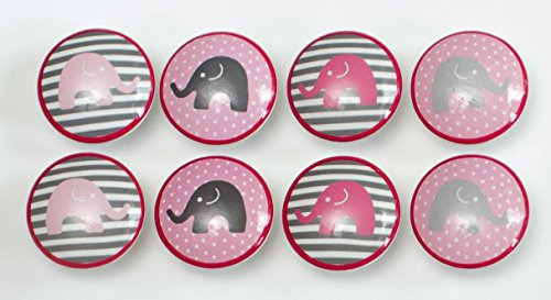 Set of 8 Grey and Pink Elephant Dresser - Elephant Dresser Knobs