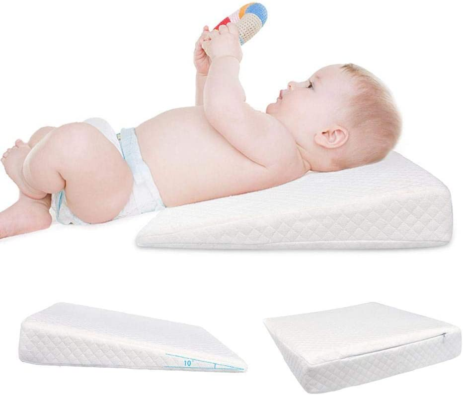 WXGY rosemaryrose Cot Wedge Tilted Pillow for Baby Colic Folding Foam Bed Wedge Pillow with Removable Washable Cover,White lovely Baby Anti-reflux Wedge