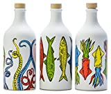 Antico Frantoio Muraglia, Premium Italian Extra Virgin Olive Oil, Pop Art Collection Set of 3: Tentacles, Sardines and Cuttlefish, Collectible Handmade Ceramic Bottles 17 Fl.oz Best Foodie Gift