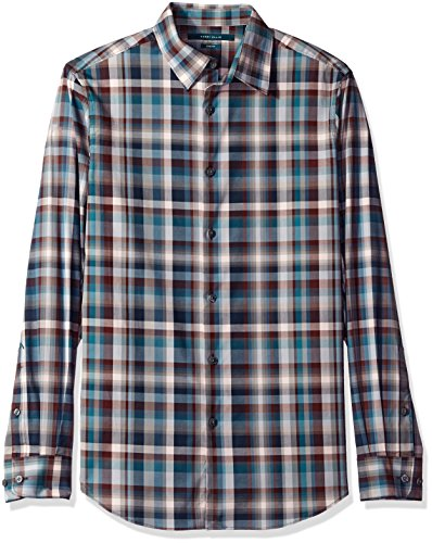 Perry Ellis Men's Regular Fit, Stretch Exploded Plaid Stripe Shirt, Orion Blue, XL