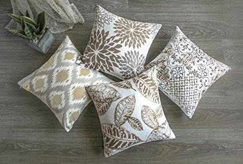 "Phantoscope New Living Series Coffee Color Decorative Throw Pillow Case Cushion Cover 18\"" x 18\"" 45cm x 45cm Set of 4"