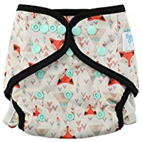 "HappyEndingsTM ""Night, Night"" Charcoal Bamboo Pocket Cloth Diaper + 5 Layer C..."