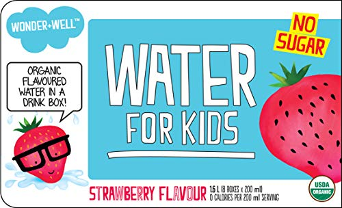 WONDER+WELL Organic Strawberry Water Drink Boxes, No Sugar, 6.75oz (case of 32)