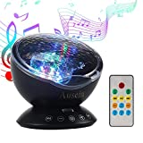 Remote Control Ocean Wave Projector, Ausein 12 LED&7 Color Modes Aurora Color Changing Night Light Projector Baby Soother Built in Relaxing Music Player for Kids Bedroom Living Room with Timer (Black)