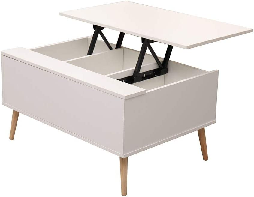 Kingwudo/® Modern White Coffee Table Lift Up Design with Storage and Wood Leg Wooden Living Room Furniture Decorative/&Practical Cabinet,85x60x45cm//33.47x23.62x17.72inch