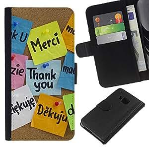 YiPhone /// Tirón de la caja Cartera de cuero con ranuras para tarjetas - Gracias Idiomas - HTC One M9