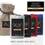Antibacterial Travel Hand Sanitizer Spray with Aloe by L'AUTRE PEAU [Credit Card Shape] | Special 4 Pc Pack - Black, Frost, Blue & Red