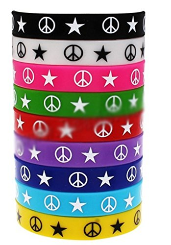 AccessCube 10 PC,s Unisex Friendship Silicone Bracelet Colourful Fashion Wristband Cuff Bangle (Peace Sign/Star)