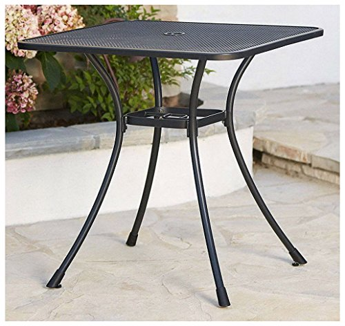 New 28'' Black Steel Bistro Table In/Outdoor Cafe Patio Dining Metal Mesh Top by Unknown