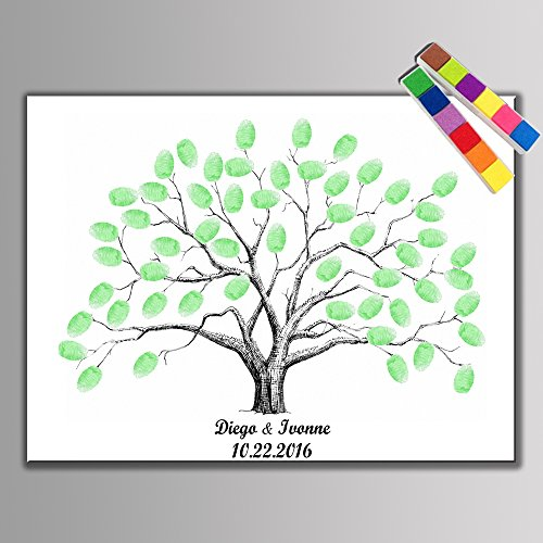 LAFEINA Creative Wedding Fingerprint Tree Signature Guest Book Party Supplies (60X75cm)]()
