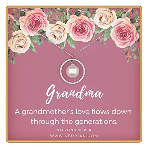 KEDRIAN Grandma Necklace, 925 Sterling Silver, Grandma Gifts, Gifts for Grandma, Grandma Birthday Gifts, Grandmother Gift, Birthday Gifts for Grandma, Grammy Pendant Necklaces for Women, Mother's Day