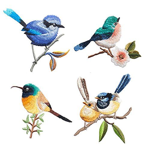4 Pcs Cute Birds Delicate Embroidered Patches, Embroidery Patches, Iron On Patches, Sew On Applique Patch,Cool Patches for Men, Women, Boys, Girls, - Embroidery Silk Bird