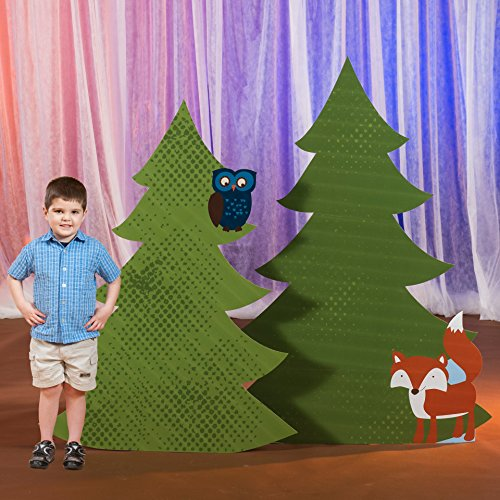 5 ft. 2 in to 5 ft. 10 in. Happy Campers Camping Forest Trees Standup Photo Booth Prop Background Backdrop Party Decoration Decor Scene Setter Cardboard -
