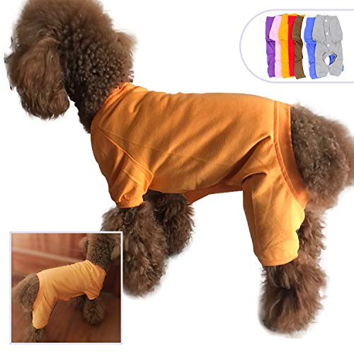 lovelonglong 2019 Pet Costumes Pajamas for Small Dogs 100% Cotton Puppy Dog Four Legs Jumpsuit Teddy 4 Feet for Pomeranian Orange -