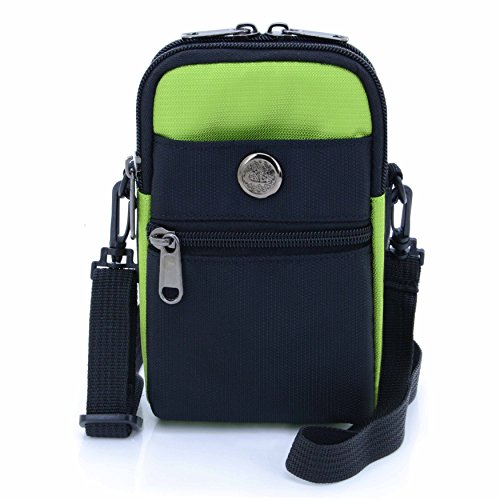 UTIMES Casual Water Resistant Nylon Waist Bag Security Pack Crossbody Phone Pouch for 6 inch Cell Phones(Green)