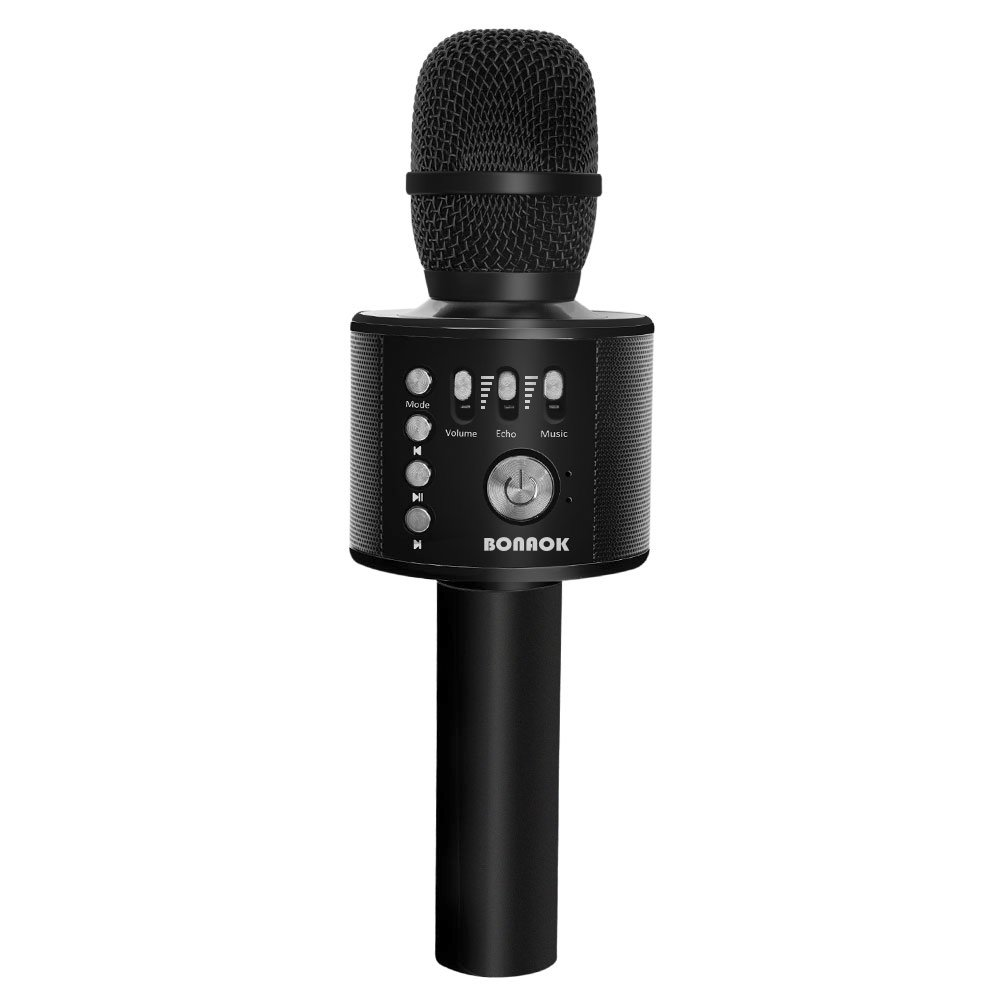 BONAOK Wireless Bluetooth Karaoke Microphone,3-in-1 Portable Handheld karaoke Mic Home Party Birthday Speaker Machine for iPhone/Android/iPad/Sony, PC and All Smartphone(Black) BKBT016ARG2