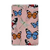 Vantaso Soft Blankets Throw Colorful Butterflies Blue Black Orange Microfiber Polyester Blankets for Bedroom Sofa Couch Living Room for Kids Children Girls Boys 60 x 90 inch