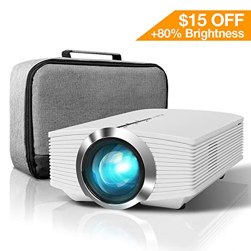 ELEPHAS Mini Projector, Home Theater LED Video 1080P with AV USB Micro SD Card HDMI for Movie Night Support Piece Laptop Smartphone, White, White